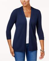 Karen Scott Petite Ribbed-Detail Open-Front Cardigan, Created for Macy's