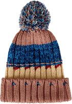 San Diego Hat Company Tan & Blue Cuffed Pom-Pom Beanie