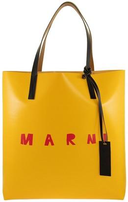Marni PVC Shopping Bag With Calfskin Handles and Frontal Logo