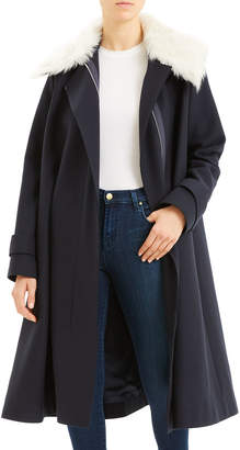 Theory Wool Cloak Coat with Shearling Trim