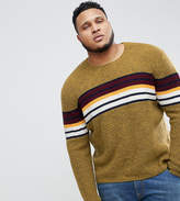Asos PLUS Knitted Sweater With Color Block Stripe