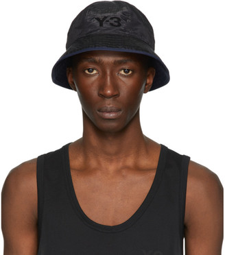 Y-3 Reversible Black and Navy Logo Bucket Hat