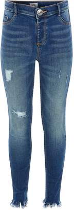 River Island Girls Blue ripped Molly mid rise jeggings