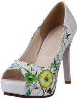 ENMAYER Women's Classical Flower High Heeled Peep Toe Platform Pumps Shoes8.5 B(M) US