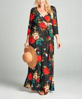 Tua Black & Red Rose Surplice Maxi Dress - Plus