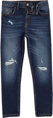 River Island Boys dark Blue Sid ripped skinny jeans