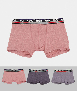 ASOS DESIGN 3 pack trunks with striped branded waistband save