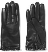 Valentino Embellished Leather Gloves - Black