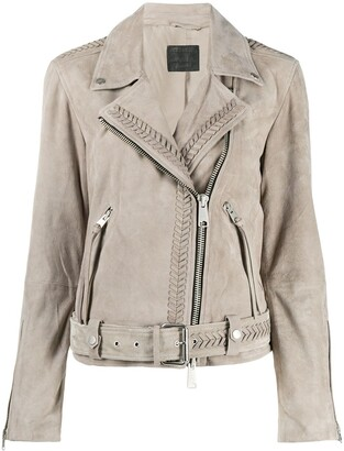 AllSaints Fringe Detail Biker Jacket