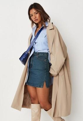 Missguided Blue Co Ord Split Hem Denim Mini Skirt