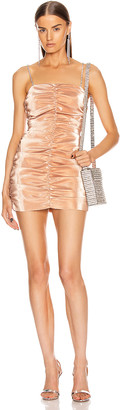 Area Shirred Mini Dress in Nude | FWRD