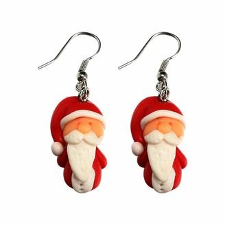 wuayi Christmas Santa Claus Penguin Dangle Drop Ear Stud Earrings Jewelry Gift for Women (B)