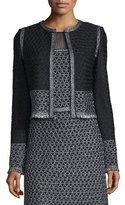 St. John Shimmer Knit Jacket w/ Fringe, Caviar/Gunmetal