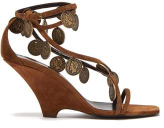 Saint Laurent Kim Coin Embellished Suede Wedge Sandals - Womens - Tan