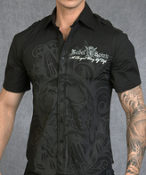 Rebel Spirit Black 'Rebel Spirit' Skull Button-Up - Men's Regular