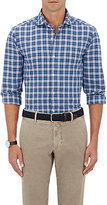 "Finamore Men's ""Eduardo P"" Plaid Cotton Shirt-BLUE"