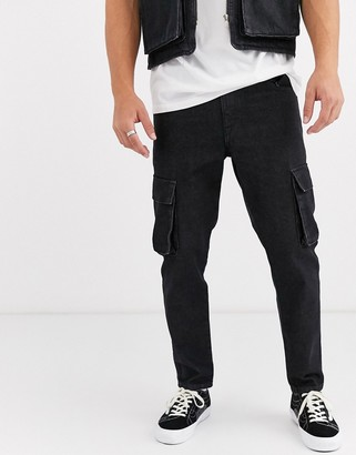 Asos Design DESIGN classic rigid jeans with cargo pocket in washed black