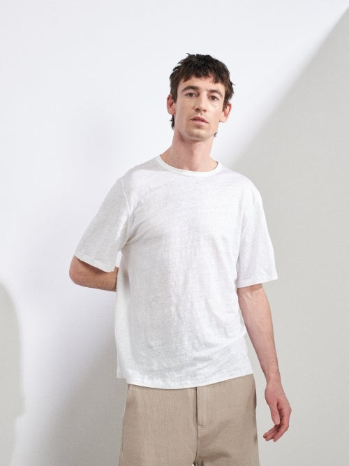 Thumbnail for your product : Raey Crew-neck Linen T-shirt - White