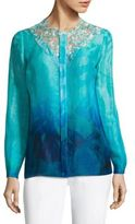 Elie Tahari Ronisha Dotted Floral Lace Blouse