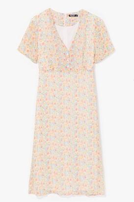 Nasty Gal Womens Sweet Escape Floral Midi Dress - Orange - 4, Orange
