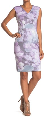 Calvin Klein Watercolor Floral Sheath Dress