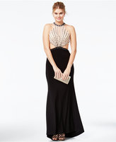 Jump Juniors' Beaded Open-Back Cutout Gown
