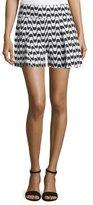 Nicole Miller Mosaic Sidewalk Stretch-Linen Shorts, Black/White
