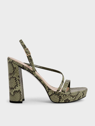 Charles & Keith Snake Print Strappy Platform Sandals