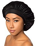 Beauty Town Luxury Wide Band Satin Bonnet Cap (Black), Keeps in hair in place, comfortable, soft material, jumbo, moisturizer, coconut oil, built in moisturizer, shiny hair, premium quality, durable