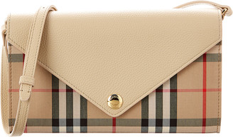 Burberry Hannah Vintage Check & Leather Detachable Strap Wallet