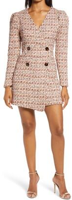 Adelyn Rae Laurie Long Sleeve Tweed Minidress