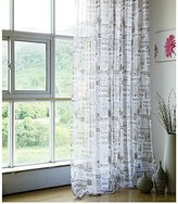 LQF Window Treatments Panels Kids Room Decor Translucent English Newspaper Pattern Print Sheer Curtains Tulle Voile Window Panel Drapes for Bedroom , Rod Pocket Process ,1 Panel