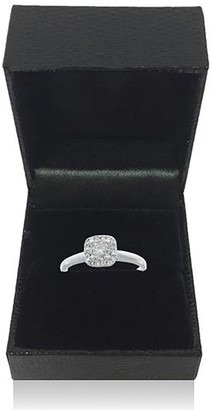 Love Diamond 9 Carat White Gold 25 Point Diamond Square Cluster Ring