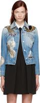Alexander McQueen Blue Embellished Denim Jacket