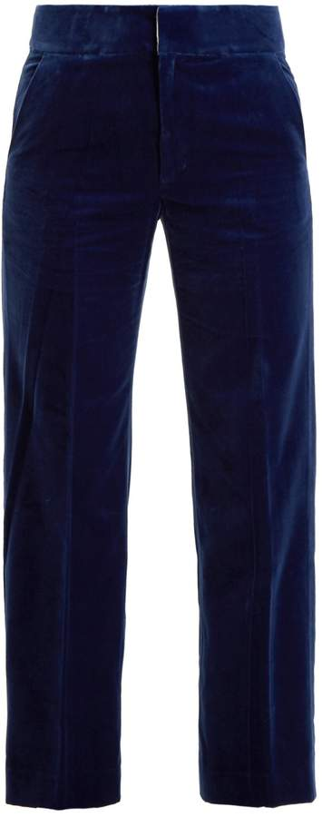 Muveil Straight-leg cotton-blend velvet trousers