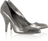 Cracked leather pumps