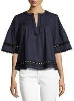 Derek Lam 10 Crosby Pintucked Poplin Eyelet Top