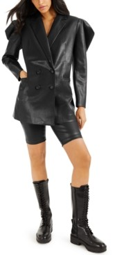 INC International Concepts Culpos X Inc Exaggerated-Sleeve Faux-Leather Blazer, Created for Macy's