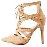 Charlotte Russe Wide Width Caged Lace-Up Heels