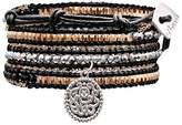 """Women's Wrap Fashion Bracelet with Beads - Black and Gold (30"""")"""