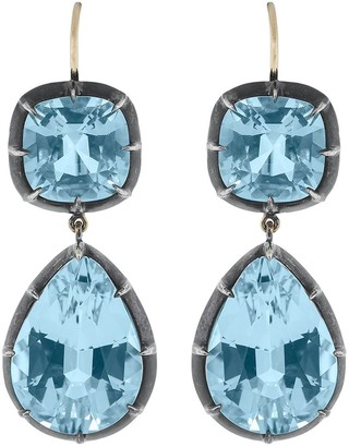 Fred Leighton 18kt Gold Double Drop Blue Topaz Earrings