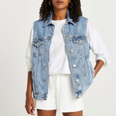 Thumbnail for your product : River Island Womens Blue sleeveless denim jacket