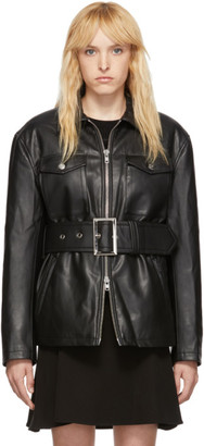 Opening Ceremony Black Faux-Leather Belted Jacket