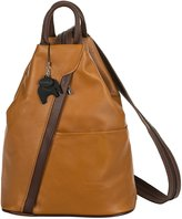 Big Handbag Shop Womens Soft Genuine Leather Convertible Strap Backpack Bag - Made in Italy with a Branded Protective Storage Bag and Charm (Cognac BrownT)