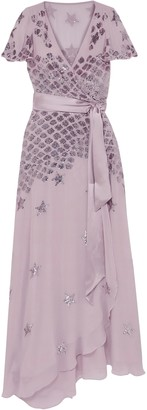 Temperley London Starlet Embellished Georgette Wrap Gown