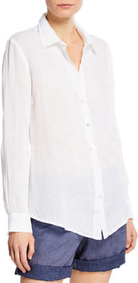 120% Lino Collared Button-Front Linen Shirt