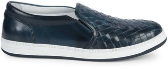 Saks Fifth Avenue Made In Italy Basket Weave Leather Slip-On Sneakers