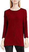Vince Camuto Two By Exposed Seam Round Neck Long Sleeve Sweater