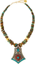 Devon Leigh Turquoise Slab-Beaded Necklace w/ Tribal-Inspired Pendant