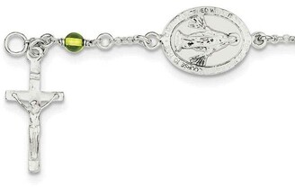 Sterling Silver Children's and Peridot Polished Rosary Bracelet by Versil